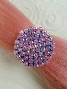 Check out this item in my Etsy shop https://www.etsy.com/nz/listing/514773595/pink-iridescent-beaded-hair-tie-hair