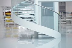 White floating staircase