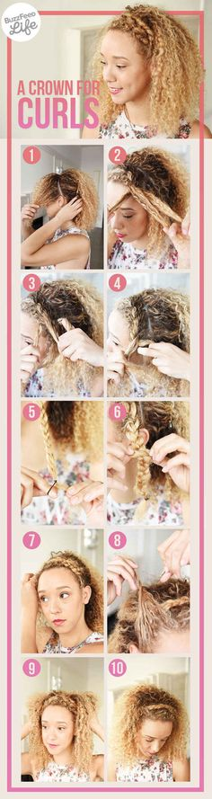 ARTICLE: 17 Hairstyles for Curly Hair. Braid the front section of your hair to create a natural headband.