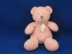 New product 'Soft Dreams McBaby Small Pink Sweater Knit Bear' added to Dirty Butter Plush Animal Shoppe! - $8.00 - Soft Dreams McBaby Plush 7 inch Seated Rose Pink Sweater Knit Bear - Gray Embroidered Face - White Satin Bow - Beanie Tu…