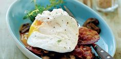Poached egg on pancetta with mixed mushrooms
