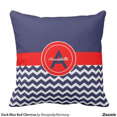 Dark Blue Red Chevron Throw Pillow