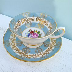 Vintage Royal Grafton Blue Floral Tea Cup and Saucer