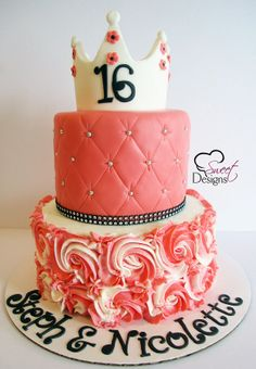 16th Birthday Cake with Crown and Buttercream Rosettes