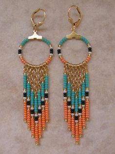 Seed Bead Chain Hoop Earrrings Orange/Aqua by pattimacs on Etsy, $18.00