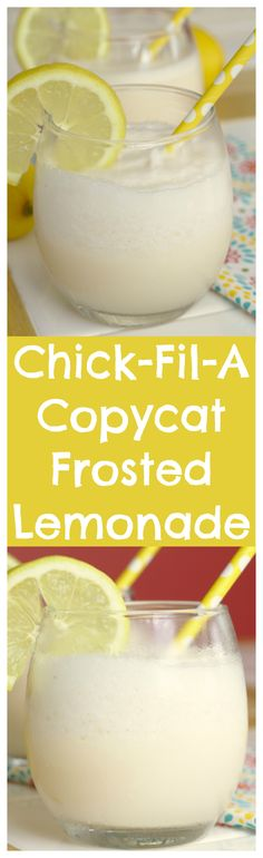 Copycat Chick-Fil-A Frosted Lemonade – A tasty frozen drink made with lemon juice, vanilla ice cream, sugar, and ice! A simple Chick-Fil-A copycat recipe!mi