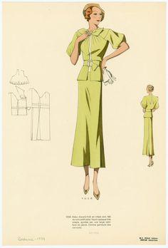 """Robe d'avant-midi en crêpe vert, fait de soie artificielle; façon-casaque très simple, ajustée par une large ceinture en pareil. Comme garniture des nervures.""""  From Les grands modèles. 1934"""