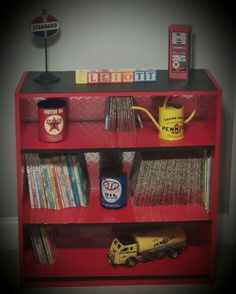 Who doesn't want a Diamond plate bookshelf? Garage Theme Bedroom, Car Themed Bedrooms, Car Bedroom, Bedroom Themes, Nursery Themes, Kids Bedroom, Bedroom Ideas, Themed Nursery, Nursery Ideas