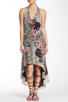 Granny Takes A Trip Patchwork Silk Blend Halter Dress