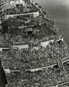 Crowded ship bringing American troops back to New York harbour after V-E Day, 5/8/1945!