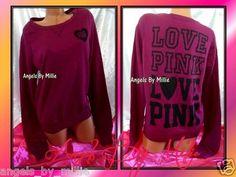 New Victoria's Secret Pink XS Plum Purple Campus Heart Signature Crew Sweatshirt | eBay