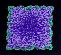Vintage Hankie Violets Handkerchief 1950s Violas Purple Green Hanky Scalloped | eBay