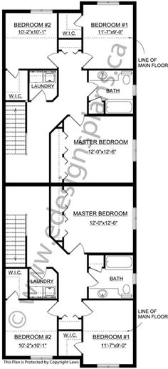 Narrow lot 2-Storey Front to Back Duplex 2012569 - Edesignsplans.ca ...
