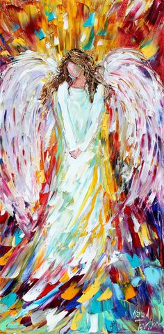 Original impasto oil angel by Karen Tarlton. Brush strokes makes the entire painting look like feathers - genius!