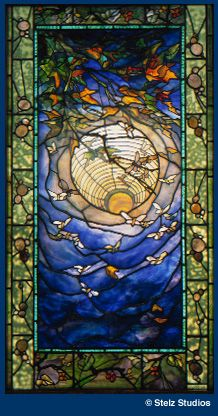 stained glass panel by steven stelz - i saw it in person at youghiogheny station when it was still open. breathtaking!