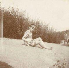 """Tsarevich Alexei Nikolaevich Romanov of Russia on a beach. """"AL"""""""