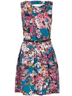 Floral Cut Out Back Belted Dress