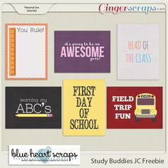 Free Study Buddies Journal Cards from GingerScraps {on Facebook}