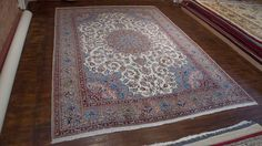 Hand Knotted Kirman Rug from Iran (Persian). Length: 441.0cm by Width: 300.0cm. Only £4637 at https://www.olneyrugs.co.uk/shop/rugs-for-sale/persian-kirman-21048.html    Take a look at our beautiful assortment of oriental carpets, foot stools and Kilim cushions at www.olneyrugs.co.uk