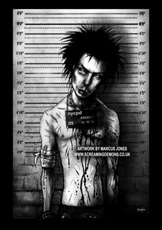 """""""I just cash in on the fact that I'm good looking, and I've got a nice figure and girls like me."""" - SID VICIOUS ★ Mugshots Prints are Available to buy here - www.toofastonline.com/c-54..."""