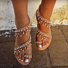 SALE Women sandals 2018 new summer shoes flat pearl sandals comfortable string bead slippers women casual sandals size 34 - 43 Item Type: SandalsClosure Type: Slip-OnOutsole Material: PVCSide Vamp Type: OpenBack Counter Type: Back StrapInsole Material: Bo Pearl Sandals, Pearl Shoes, Beaded Sandals, Gladiator Sandals, Wedge Sandals, Bridal Sandals, Sparkly Sandals, Beaded Shoes, Rhinestone Sandals