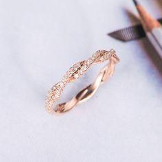 Rose Gold Wedding Band Women Twist Diamond Wedding Ring