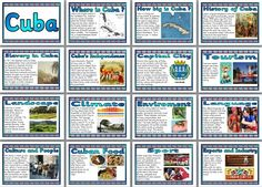 Printable Geography Posters - Countries of the World - Cuba.  Set of 16 printable posters about Cuba.  Includes: Title page, Where is Cuba? How big is Cuba? History of Cuba, Slavery in Cuba, Cuba's Independence, Capital City, Tourism, Landscape, Climate, Environment, Language, People and Culture, Cuban Food, Sport, Export and Industry.