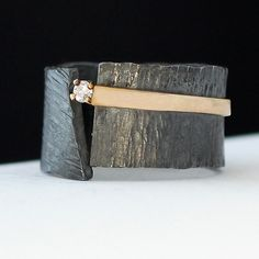 Black Ice by Dagmara Costello: Gold, Silver and Stone Wedding Band available at www.artfulhome.com