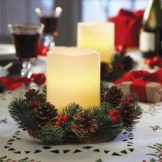 2-piece Christmas Holiday LED Candle and Wreath Table Centerpiece Set