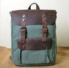 High Quality Vintage Fashion Casual Canvas Crazy Horse Leather Women Men  Backpack Backpacks Shoulder Bag Bags For Lady Rucksack 08b52c07c558f