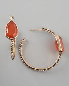Stephen Dweck Red Agate Cathedral Hoop Earrings - Neiman Marcus