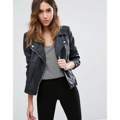 Only Faux Leather Biker Jacket With Zip Detail (85 CAD) ❤ liked on Polyvore featuring outerwear, jackets, black, vegan leather jacket, vegan biker jacket, faux leather moto jacket, jersey jacket and moto jackets
