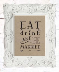 Eat Drink and be Married // Kraft Paper // Vintage by LADYBIRDINK, $15.00