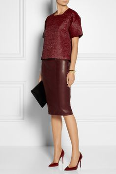 Skirts - PENCIL Tapered Skirt in WINE Faux Leather aka Leatherette not lined Zip Closure was listed for on 7 Jul at by belmark in Johannesburg Burgundy Skirt Outfit, Pencil Skirt Outfits, Pencil Skirts, Work Fashion, Beautiful Outfits, Formal, Bordeaux, Style Inspiration, My Style