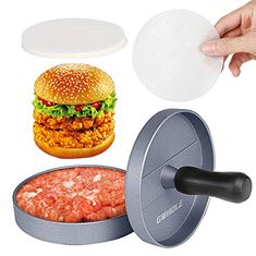 Non-Stick Burger Press Aluminum Patty Maker with 100 Wax Papers for BBQ Grill Hamburger Maker, Hamburger Patties, Burger Party, Bbq Burger, Good Burger, Cooking On The Grill, Wax Paper, Parchment Paper, Crab Cakes