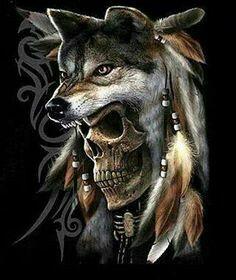 Spring Wolf Bite Skull Print Men's Long-Sleeve T-shirt Native Indian, Native Art, Native American Art, Indian Skull, Indian Art, Indian Wolf, Wolf Tattoos, Skull Tattoos, Native Tattoos