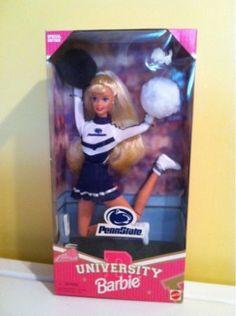 Penn State Barbie for A on Amazon:    http://www.amazon.com/Penn-State-University-Barbie-Doll/dp/B000CQ3ARM#