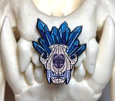 Crystal Flower Tiger Skull Soft Enamel Pin by TheDrawOfTheVoid on Etsy