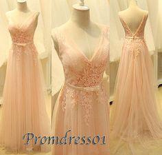 2015 elegant v-neck open back pink lace tulle modest long prom dress for teens, ball gown, evening dress, grad dress, custom made plus size dresses #promdress #wedding