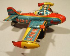 Tin Friction Navy Grumman B 265 Airplane Toy, Bandai Japan Metal Toys, Tin Toys, Wooden Toys, Airplane Toys, Airplanes, Vintage Toys 1960s, Space Toys, Hobby Toys, Toy Trucks