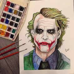 "Joker, Heath Ledger from ""the dark knight"" watercolors on paper"