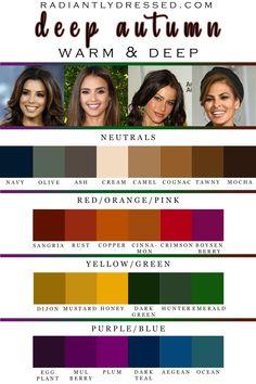 Deep Autumn Color Palette, Skin Color Palette, Outfit Stile, Dark Autumn, Soft Autumn Deep, Seasonal Color Analysis, Color Me Beautiful, Winter Colors, Mode Outfits
