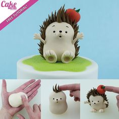 What a happy hedgehog? We love this cute cake topper and it's so easy to make with the step-by-step tutorial on our website! Hedgehog Cake, Hedgehog Birthday, Happy Hedgehog, Fondant Figures Tutorial, Cake Topper Tutorial, Fondant Toppers, Cake Decorating Magazine, Cookie Decorating, Fondant Animals