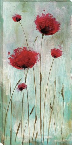 Splash Poppies I by Catherine Brink Painting on Wrapped Canvas