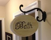ORIGINAL - Bathroom Wooden Sign - Distressed Wood Sign -  Vintage Shabby Chic Bath Sign - Custom Hand Painted Bath Sign - Laundry Room Sign