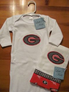 University of Georgia Baby Daygown with Matching by vduff on Etsy, $25.00