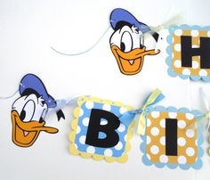 Donald Duck Themed Happy Birthday Banner in by ScrapsToRemember, $30.00
