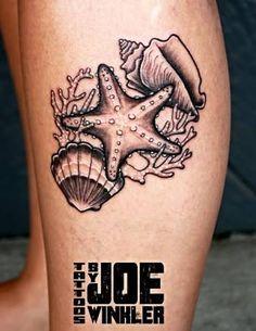 Resultado de imagem para traditional seashell tattoo