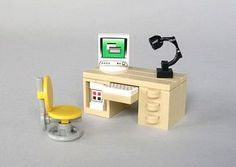 Schreibmoebel : a LEGO® creation by Michael Jasper : Lego Modular, Lego Design, Lego Office, Office Desk, Casa Lego, Lego Craft, Lego Lego, Lego Furniture, Lego Pictures