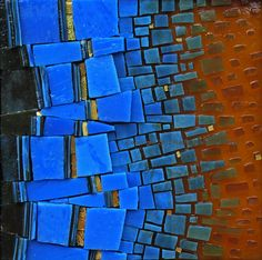 """Blue Away 2012 6"""" x 6"""" Vintage smalti, stained glass, gold smalti Art and photo copyright 2012 Kelley Knickerbocker of Rivenworks Mosaics, All rights reserved"""